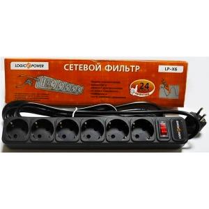 Мережевий фільтр LogicPower LP-X6, 6 розеток, черный, 4,5 м Slezhka.com.ua Безпечний Дім